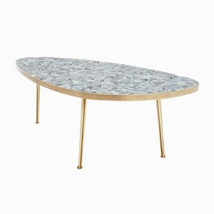 German Oval Brass & Vitreous Glass Mosaic Coffee Table by Berthold Müller, 1950s