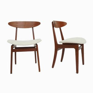 Scandinavian Modern Dining Chairs with Wool Covers by Hans J. Wegner, 1950s, Set of 2