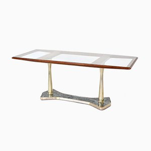 Italian Mahogany, Brass & Marble Dining Table, 1960s