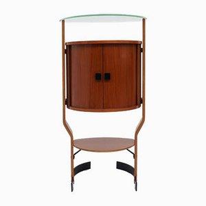 Mueble bar italiano de contrachapado de teca de Ignazio Gardella, años 60