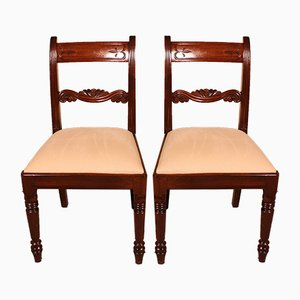 Antique Mahogany Dining Chairs, 1800s, Set of 2
