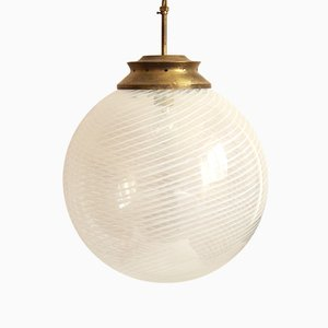Italian Spherical Swirl Murano Glass Clematide Ceiling Lamp, 1960s