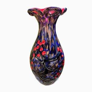 Vase aus Muranoglas mit Dekoration aus Kirschholz im japanischen Stil, 1980er