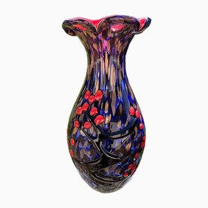 Vase en Verre de Murano avec Décorations Style Japonais en Merisier, 1980s