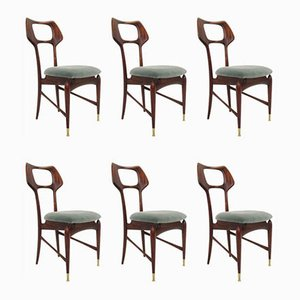 Italian Dining Chairs by Ico Parisi for ISA Bergamo, 1950s, Set of 6
