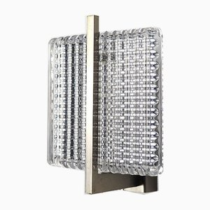 Square Glass & Chrome Wall Sconce, 1960s