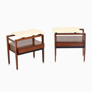Italian Rosewood and Carrara Marble Nightstands, 1960s, Set of 2