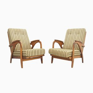Vintage Organic-Shaped Oak Lounge Chairs, 1950s, Set of 2