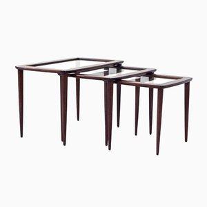 Tables Gigognes en Acajou avec Plateaux en Verre par Ico Parisi, Italie, 1960s, Set de 3