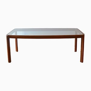 Italian Wood and Glass Dining Table by Angelo Mangiarotti for Sorgente dei Mobili, 1960s