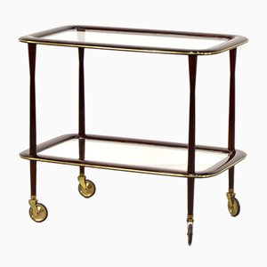 Italian Mahogany, Brass & Glass Drinks Trolley by Ico Parisi, 1960s