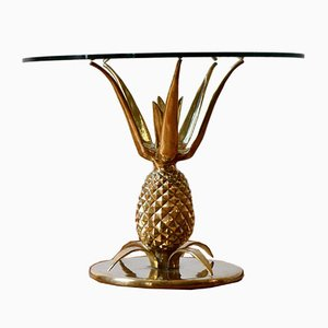 Parisian Hollywood Regency Sculptural Brass & Glass Pineapple Coffee Table, 1970s