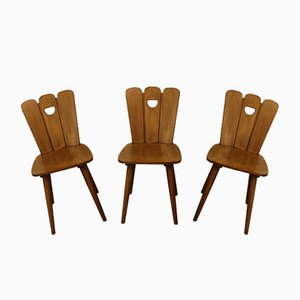 Brutalist Solid Pine Dining Chairs, 1960s, Set of 3