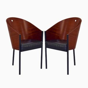 Italian Enameled Steel & Plywood Costes Dining Chairs by Philippe Starck for Driade, 1980s, Set of 2