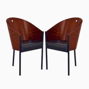 Italienische Costes Esszimmerstühle aus emailliertem Stahl & Schichtholz von Philippe Starck für Driade, 1980er, 2er Set