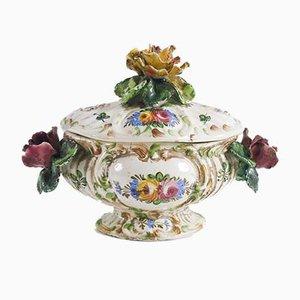 Mehrfarbige Keramik Suppenterrine mit handgemalten floralen Verzierungen von BottegaNove, 1940er