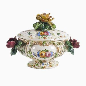 Multi-Colored Ceramic Soup Tureen / Centerpiece with Hand Painted Floral Decorations from BottegaNove, 1940s