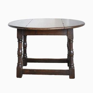 Small Antique English wivel Top Drop-Leaf Side Table, 1890s
