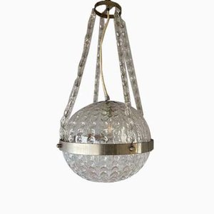 German Space Age Glass Ball Pendant Lamp, 1970s