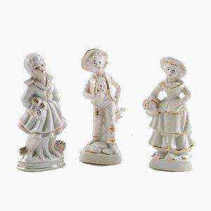 Personaggi in porcellana napoletana di Capodimonte, anni '20, set di 3