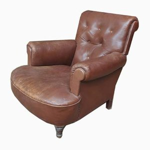Antique Leather & Wood Lounge Chair, Circa 1900