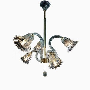 Lampada da soffitto con sei file di Ercole Barovier per Barovier & Toso, anni '40