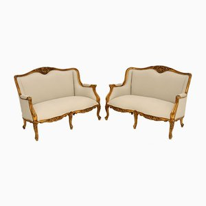 Antique French Gilt Wood Sofas, 1950s, Set of 2