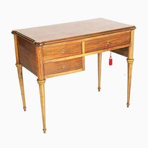 Neoclassical Blond Walnut & Flame-Applied Walnut Burl Desk, Late 1800s