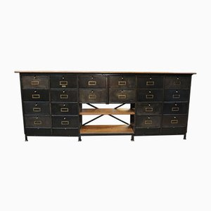 Long Metal & Oak Clamshell Cabinet from Ronéo, 1950s