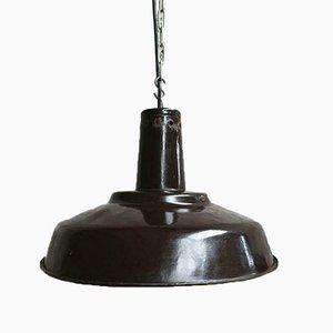 Dark Brown Enamel Ceiling Lamp, 1963