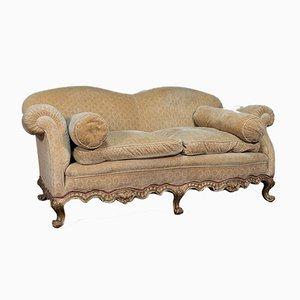 Antique French Beech & Fabric 2-Seater Sofa, Circa 1900
