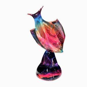 Pez con base de cristal de Murano y vidrio Calcedonia