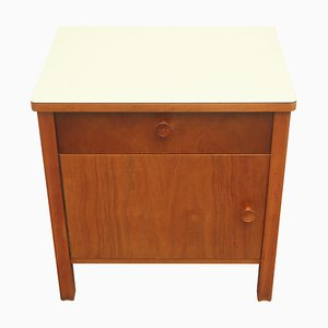 Ash Nightstand with Pastel Yellow Formica Top, 1950s