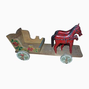 Wooden Trolley with 3 Horses for Żywiec, 1985