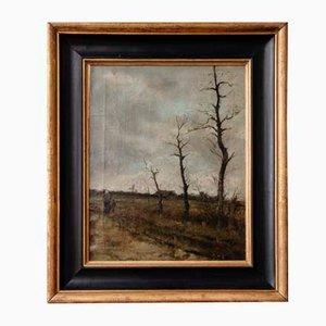 Olio su tela, paesaggio, scuola di Barbizon, XIX secolo