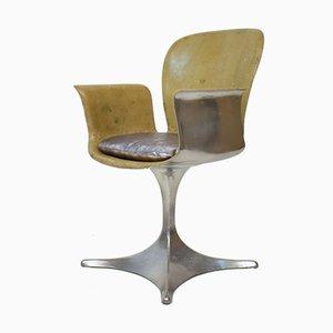 German Sculptural Silver & Beige Fiberglass Armchair, 1957
