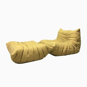 Vintage Mustard Togo Chair & Footstool from Ligne Roset, Set of 2