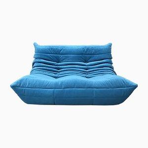 Blaues Mid-Century 2-Sitzer Togo Sofa von Michel Ducaroy für Ligne Roset