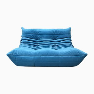 Mid-Century Blue 2-Seater Togo Sofa by Michel Ducaroy for Ligne Roset