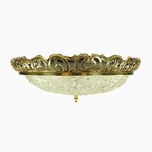 Mid-Century Art Nouveau Style Glass & Brass Flush Mount Ceiling Lamp from Kaiser Leuchten