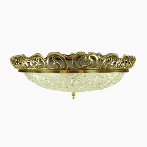 Mid-Century Deckenlampe aus Glas & Messing im Jugendstil von Kaiser Leuchten