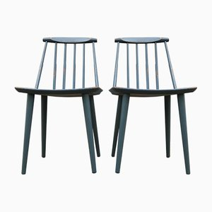 Petrol Blue J77 Chairs by Folke Pålsson for FDB, 1963, Set of 2