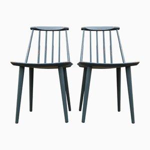 Petrolblaue J77 Stühle von Folke Pålsson für FDB, 1963, 2er Set