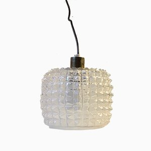 Glass Ceiling Lamp with Diamond Pattern from Vitrika, 1960s