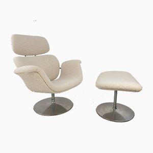 Big Tulip Chair & Fußhocker von Pierre Paulin für Artifort, 1980er, 2er Set