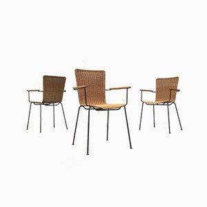 Mid-Century Modern Metal & Rattan Dining Chairs, Set of 3