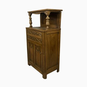 Gothic Renaissance Blond Oak Cabinet, 1920s