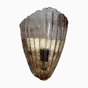 Vintage Shell-Shaped Ribbed Murano Glass Sconce with Brass Base from Made Murano Glass