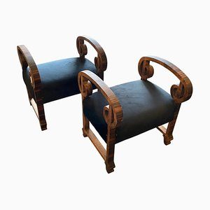 Italian Art Deco Wood and Black Velvet Poufs, 1930s, Set of 2