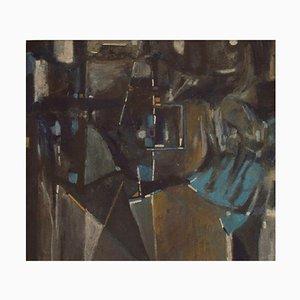 Ole Graugaard, Denmark, Oil Crayon on Paper, Composition Abstraite, 1977
